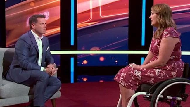 Jo Gilchrist, appearing on This Time Next Year, was left wheelchair-bound after she used a friend's make-up brush. Picture: Channel 9
