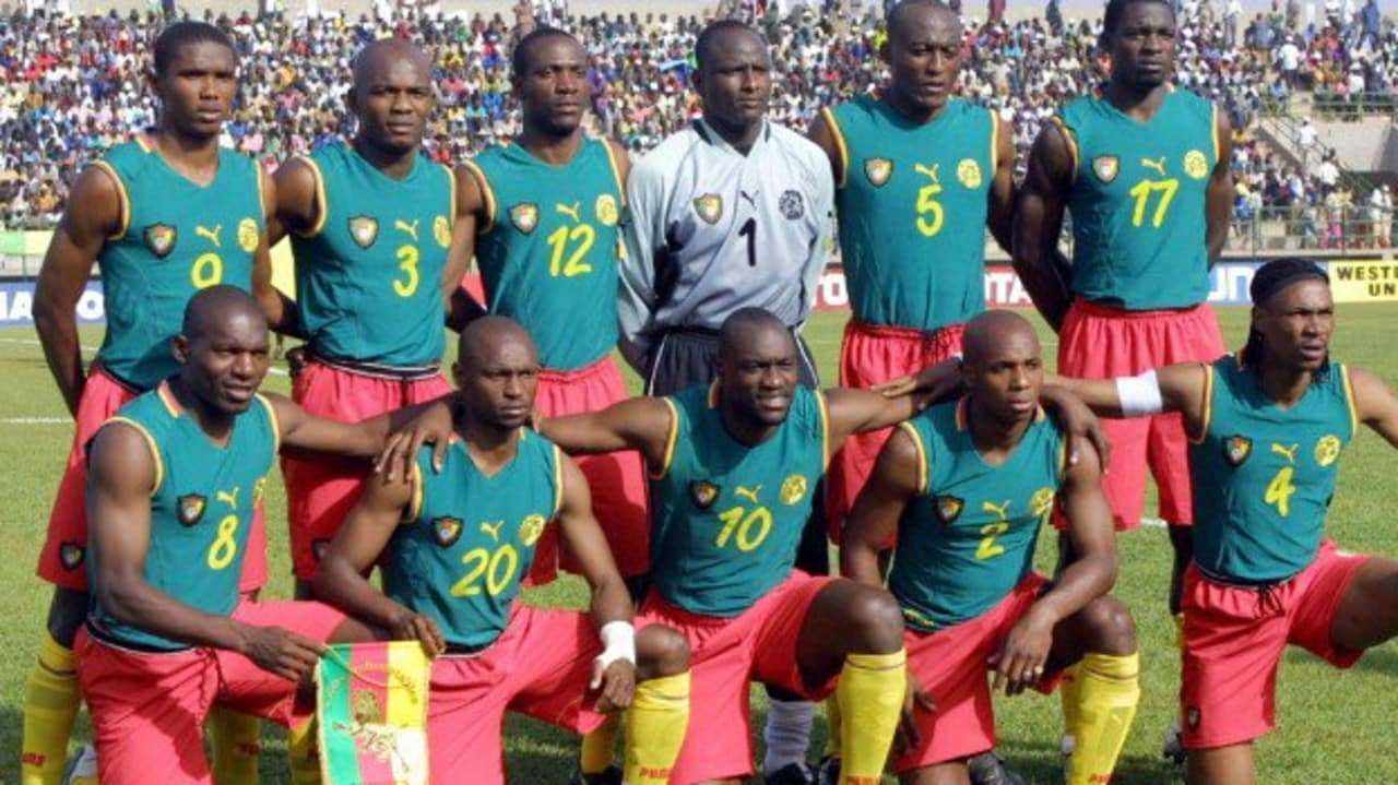 Cameroon also had this sleeveless kit that was banned for the 2002 World Cup