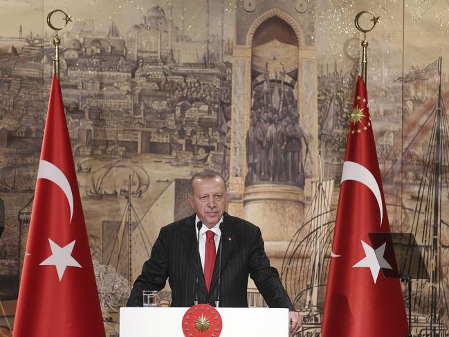"Turkish President Recep Tayyip Erdogan says his country ""cannot forget"" the harshly worded letter from US President Donald Trump. Picture: Presidential Press Service via AP, Pool"