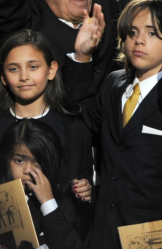 Michael Jackson's daughter Paris Michael Katherine Jackson (L) and two sons Prince Michael Jackson II (also known as Blanket) and Prince Michael Jackson I (R) at a memorial service for their father in 2009. Picture: Supplied