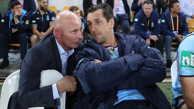 Peter Sterling with NSW's Mitchell Pearce during Origin.