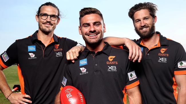 New Giants skipper Stephen Coniglio with inaugural captains Phil Davis and Callan Ward. Picture: Phil Hillyard