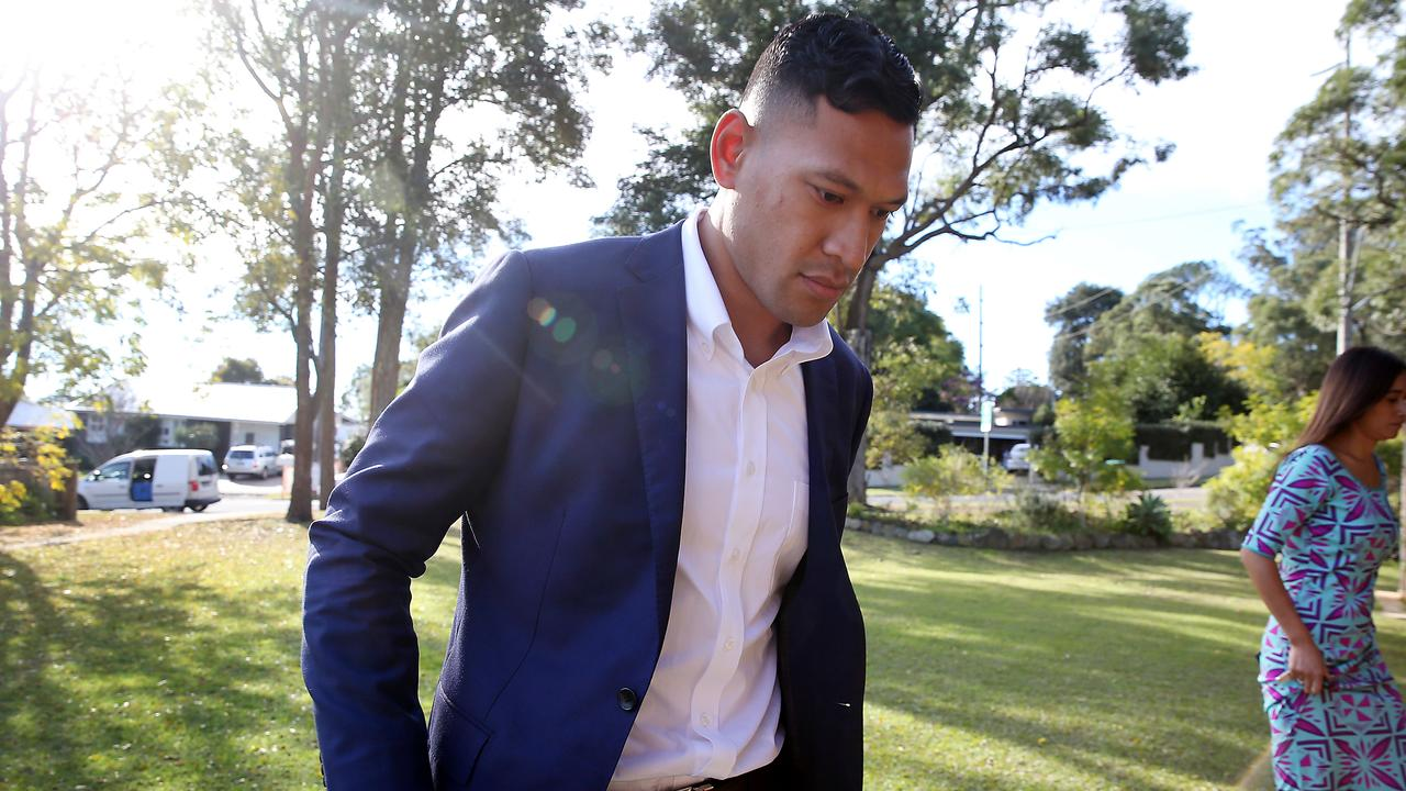 Israel Folau and his wife Maria arriving at the Uniting Curch in Kenthurst, Sydney.
