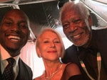"""Tyrese Gibson with Helen Mirren and Morgan Freeman ... """"I'm in #Selfies competition and I don't think annnnnyyyoooone is gonna beat these..... #GoldEnGlobes I walked with my legendary grandparents..... Say hello!"""" Picture: Instagram"""