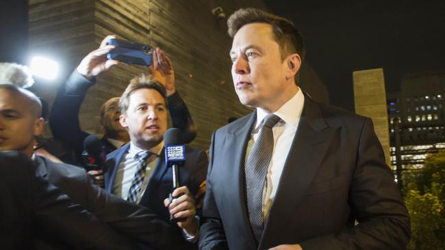 Elon Musk, chief executive officer of Tesla Inc. leaves the US District Court, Central District of California. Picture: AFP