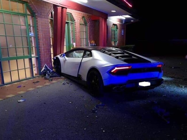 The Lamborghini smashed into the House Of Tien restaurant. Picture: Supplied