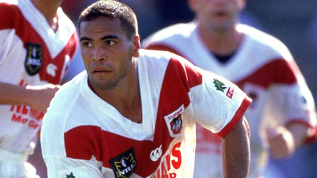 Anthony Mundine in action for the Dragons in 1998.