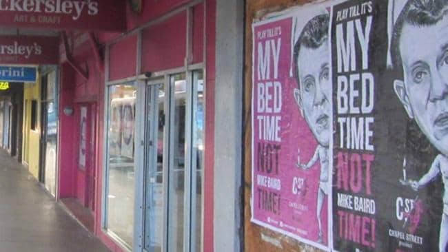 The posters mock NSW Premier Mike Baird.