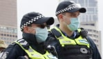 ADF and police patrol along the Yarra in Melbourne on day one of mandatory mask wearing in Melbourne. Picture: NCA NewsWire/David Crosling