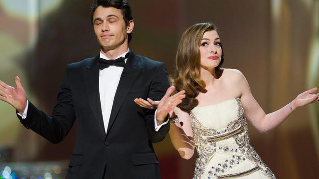 "James Franco co-hosting the 2011 Oscars: ""I was the dead man."" Picture: EPA"
