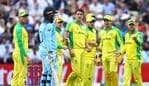 BIRMINGHAM, ENGLAND - JULY 11: The Australia players reacts as Jason Roy of England remonstrates with the Umpires after being given out caught behind despite not connecting with the ball during the Semi-Final match of the ICC Cricket World Cup 2019 between Australia and England at Edgbaston on July 11, 2019 in Birmingham, England. (Photo by Michael Steele/Getty Images)