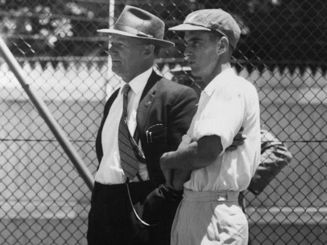 Ian Craig (R) with Sir Donald Bradman in 1960.