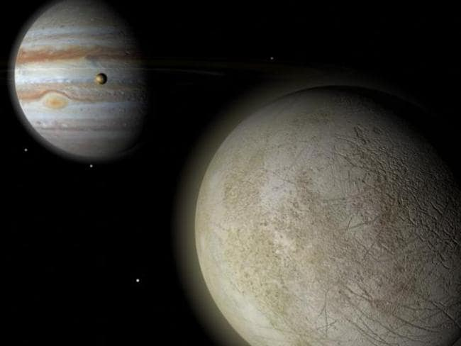 Prime candidate ... Jupiter's moon Europa may have conditions that suit life.
