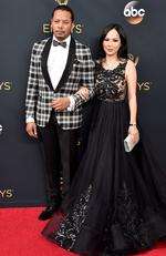 Terrence Howard and Mira Pak attend the 68th Annual Primetime Emmy Awards on September 18, 2016 in Los Angeles, California. Picture: Gettty
