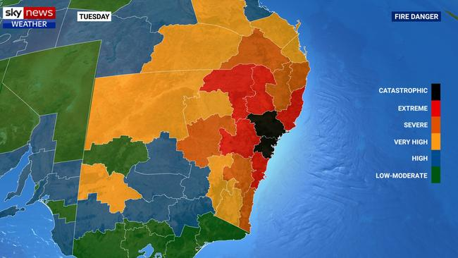 Black marks the spot. Sydney and Newcastle have a fire danger warning of 'catastrophic', which has never occurred before. Picture: Sky News Weather.