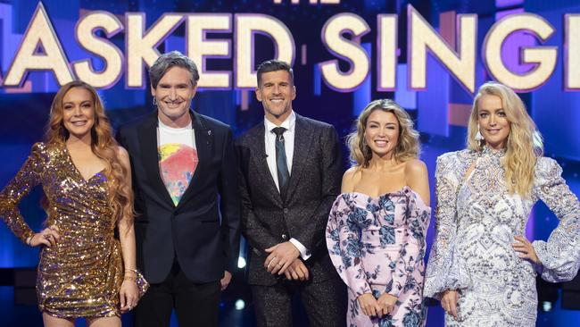 The Masked Singer judges with host Osher Gunsberg.