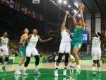Elizabeth Cambage attempts a shot against Brazil during the Opals win.
