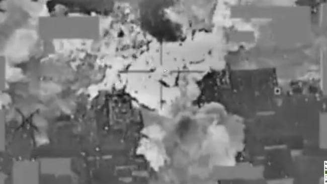 US Department of Defence video showing air strike on ISIS bank in Mosul, Iraq, on January 11, which is thought to have killed Neil Prakash. Credit: liveleak.com