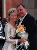 Bob Such on his wedding day with his wife Lyn outside Scotch College Chapel. Picture: Martin Dean