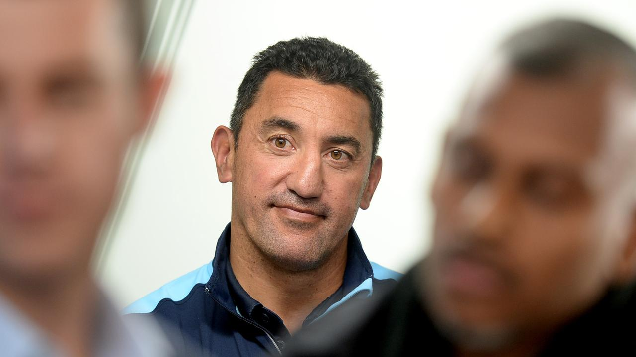 Waratahs coach Daryl Gibson announcing his resignation at a press conference.