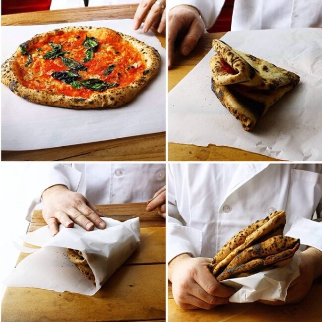 Steps to eating a Neapolitan-style pizza.