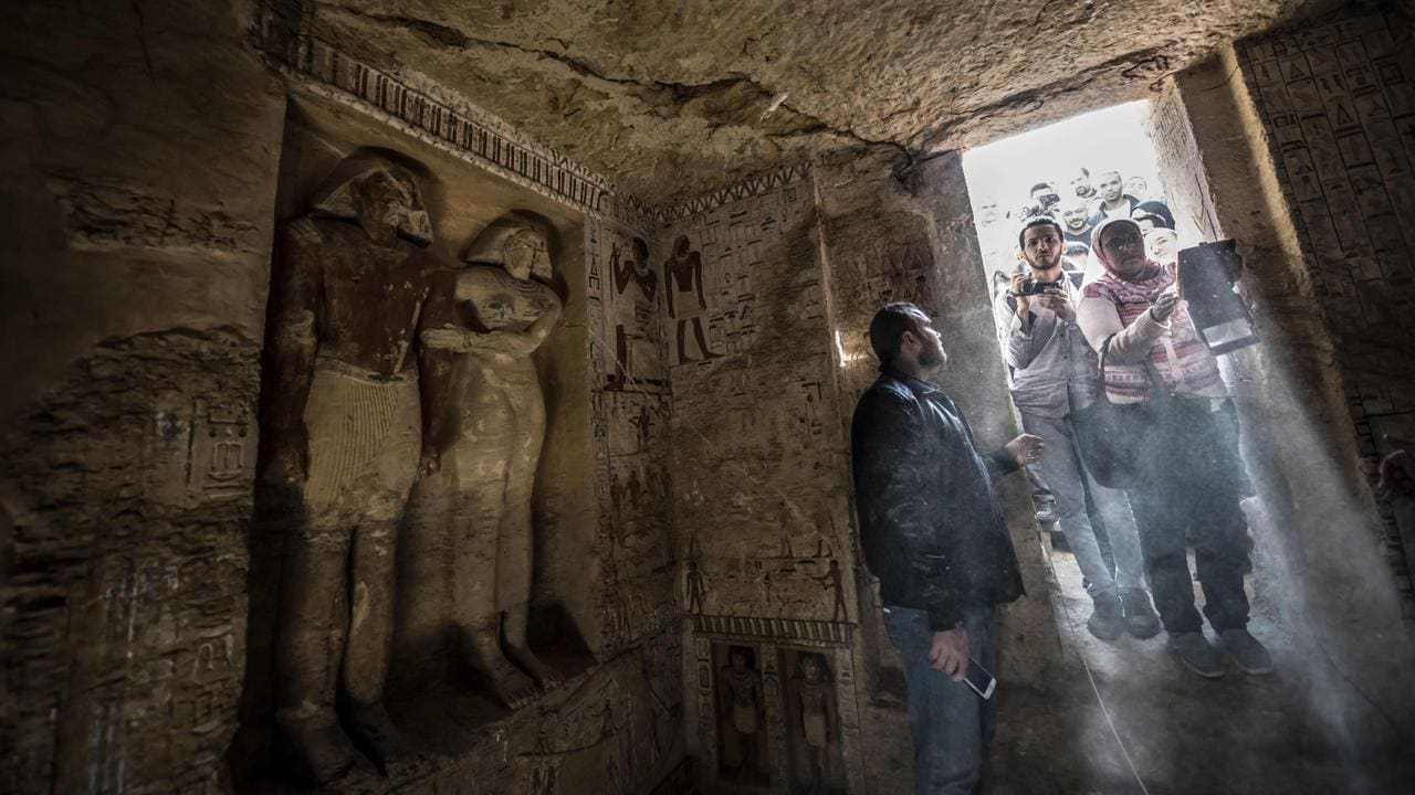 Guests enter the tomb. Picture: AFP