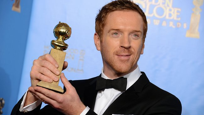 Damian Lewis poses with the award for best performance by an actor in a television series drama for Homeland. Picture: Jordan Strauss/Invision/AP