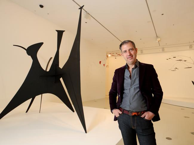 Alexander Rower, grandson of artist Alexander Calder, with a sculpture by his grandfather at NGV International. Picture: David Geraghty