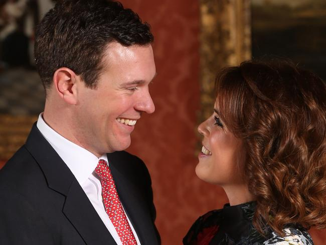 Britain's Princess Eugenie of York (R) poses with her fiance Jack Brooksbank. Picture: AFP