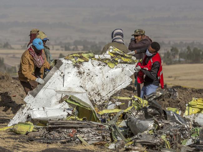 Rescuers work at the scene of an Ethiopian Airlines flight crash near Bishoftu, south of Addis Ababa. Picture: AFP