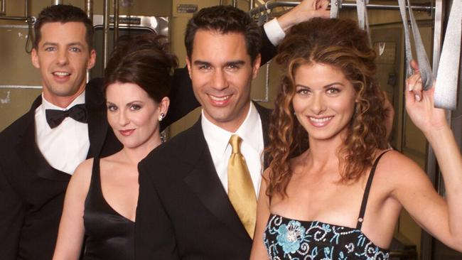 Will & Grace: Sean Hayes as Jack McFarland, Megan Mullaly as Karen Walker, Eric McCormack as Will Truman, Debra Messing as Grace Adler.