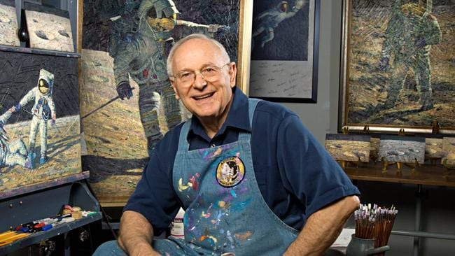 Alan Bean in front of his painting easel at his art studio in Houston, Texas on October 14, 2008. Picture: AFP.