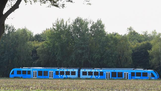 The first hydrogen-powered train drives near Bremervoerde, Germany, as it enters service on September 16, 2018. Picture: Patrik Stollarz