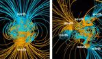 On the left, the Earth's magnetic field we're used to. On the right, a model of what the magnetic field might be like during a reversal. NASA/Gary Glazmaier, CC BY