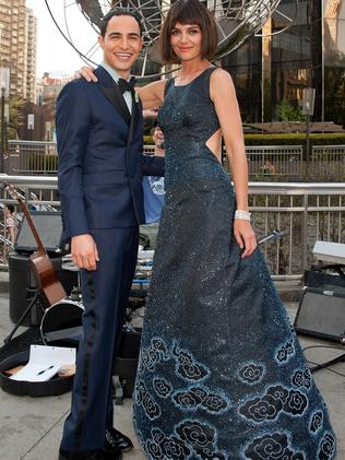 Designer Zac Posen and Katie Holmes. Picture: Getty Images