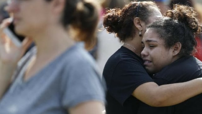 Santa Fe High School junior Guadalupe Sanchez, 16, cries in the arms of her mother, Elida Sanchez, after the shooting. Picture: Michael Ciaglo/Houston Chronicle via APSource:AP