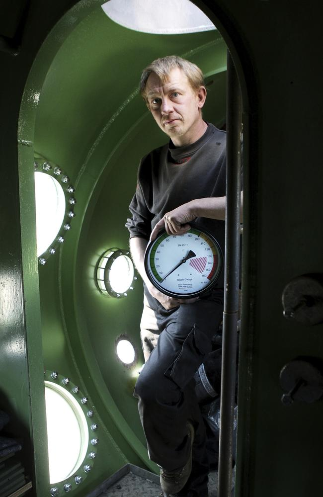 Kim Wall's accused killer Peter Madsen inside his homemade submarine the Nautilus in 2008. Picture: Niels Hougaard /Ritzau via AP