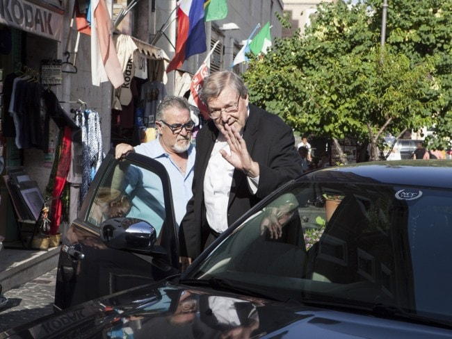 Cardinal Pell pictured outside his home near the Vatican last year. Picture: Supplied