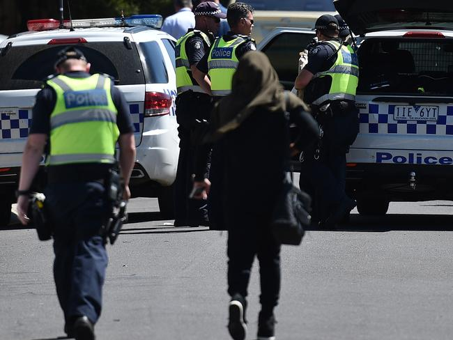Police remained at a home in Meadow Heights this morning where it is believed explosives are being stored in relation to the alleged terror plot. Picture: Julian Smith/AAP
