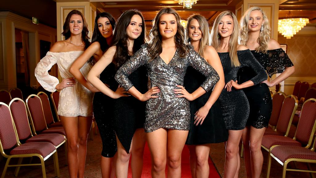 Miss World Australia heats have begun, however outdated rules have been called discriminatory. L-R Chantelle Corby, Alexia Zouroudis, Alexandra Trkulja, Renae Thorman, Krysta Heath, Rachel Gallagher and Angela Coulton. Picture: Toby Zerna