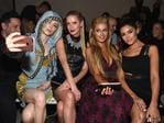 James Conran, Coco Rocha, Nicky Hilton Rothschild, Paris Hilton, and Olivia Culpo attend the Front Row for the Philipp Plein Fall/Winter 2017/2018 Women's And Men's Fashion Show at The New York Public Library on February 13, 2017 in New York City. Picture: Getty