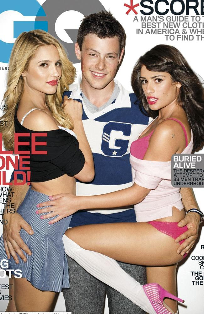 The stars of Glee: Dianna Agron, Cory Monteith, and Lea Michele. Picture: AP Photo/GQ, Terry Richardson