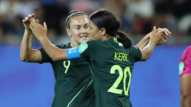 Matildas teammates Sam Kerr and Caitlin Foord are set to clash for silverware in England.