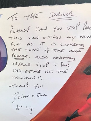 The snobby note was left for a charity worker. Picture: Bradley Welsh/Twitter
