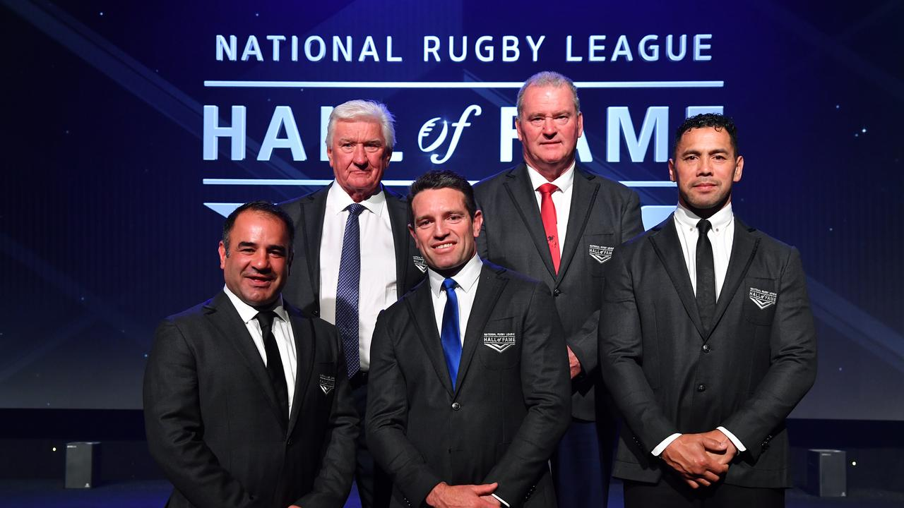 (L-R) Stacey Jones, Ray Warren, Danny Buderus, Craig Young and Ruben Wiki after being inducted at the 2019 NRL Hall of Fame in Sydney.