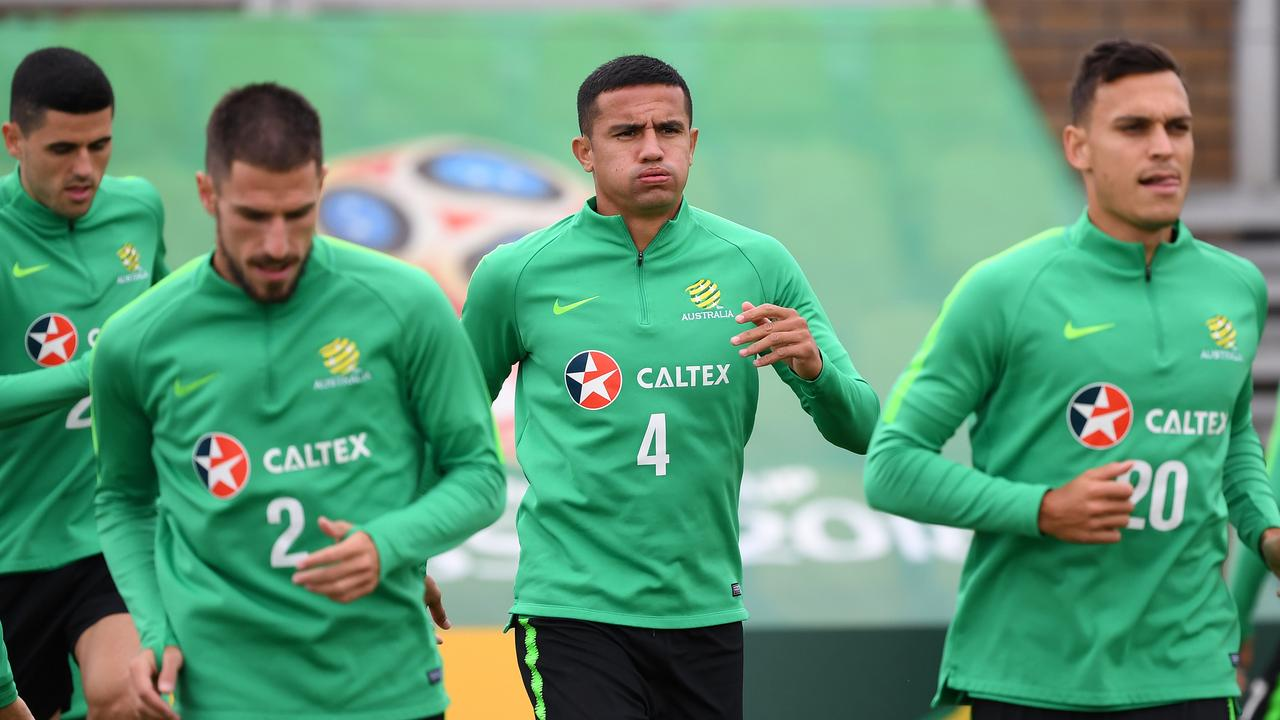 The Socceroos train ahead of their World Cup opener.