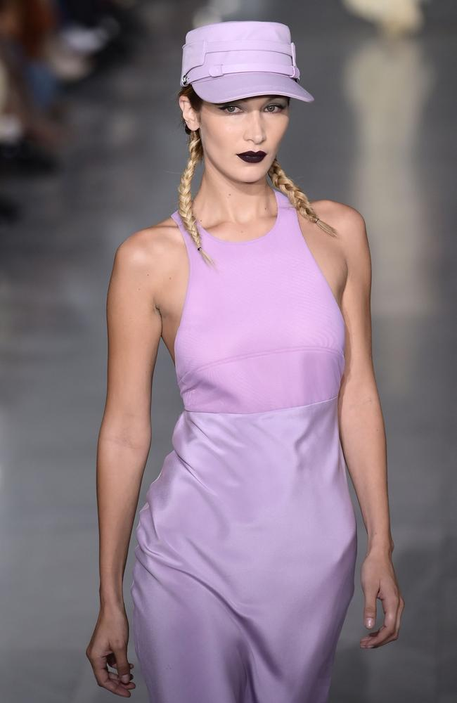 Purple reign! Bella Hadid in Max Mara. Picture: AFP