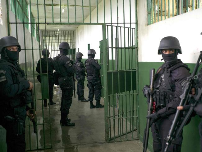 Special Operations Command personnel keep watch during a visit to the Anísio Jobim Penitentiary Complex where inmates were killed during a riot two weeks ago. Picture: AFP/Raphael Alves