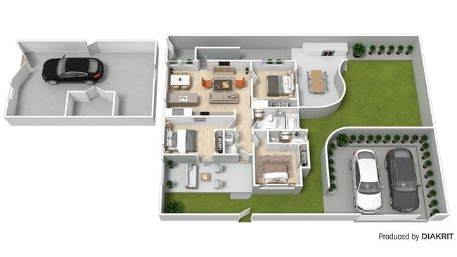 This Diakrit floorplan of 61 Windsor Rd, Red Hill gives an idea of how the space could be used and while it is to scale, it is not an exact replication of the furniture layout.