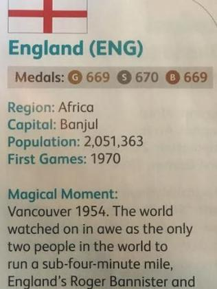Oops! England has been described as an African nation in a Commonwealth Games program.
